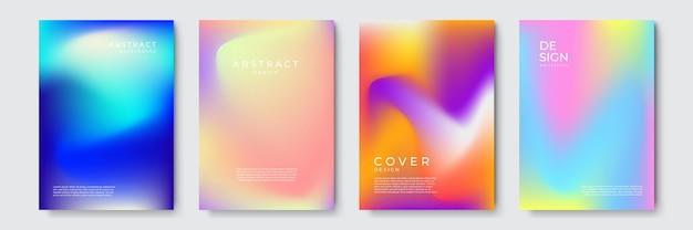 Abstracte levendige geometrische omslagontwerpen met kleurovergang, trendy brochuresjablonen, kleurrijke futuristische posters. vector illustratie.