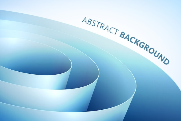 Abstracte lichte achtergrond met blauw gebogen inpakpapier in opgerolde stijl