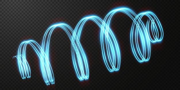 Abstracte lichte neonlijnen die in een spiraal wervelen