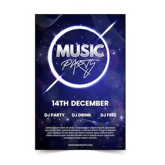Abstracte lichteffect muziek poster sjabloon
