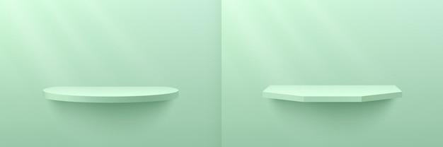 Abstracte lichtgroene muntcilinder en zeshoekige plankset met raamverlichting