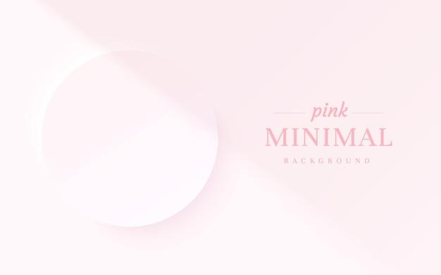 Abstracte lichtroze 3d cirkelframe achtergrond met schaduwoverlay voor cosmetische productpresentatie