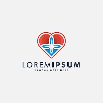 Abstracte liefde hart logo ontwerp vectorillustratie