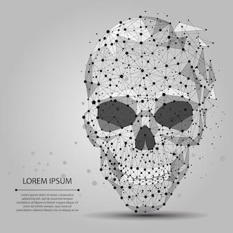 Abstracte lijn en punt grijze schedel