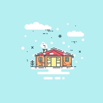 Abstracte lijn huis illustratie