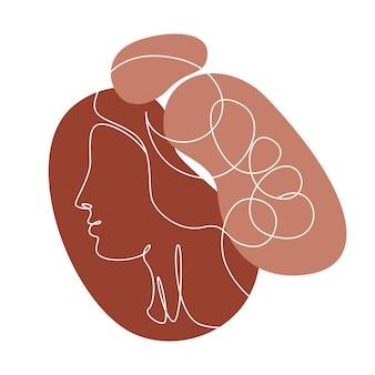 Abstracte lijn kunst aan de muur met vrouwen gezicht profiel. moderne continue één lijntekening. minimalistische antieke kunst aan de muur met verschillende vormen terracotta kleuren voor wanddecoratie. vector illustratie
