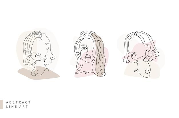 Abstracte lijn kunstcollectie laconieke driekleurige vrouw gezicht