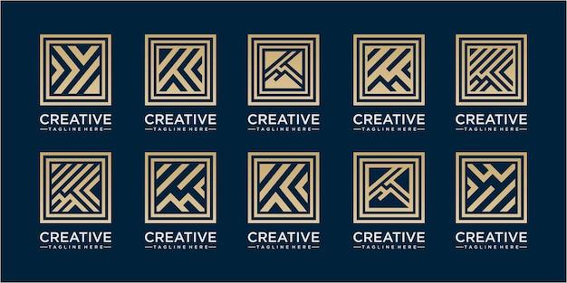 Abstracte lijn vierkante logo ontwerp inspiraties. set van acht minimalistische trendy vormen. stijlvolle vector logo emblemen voor uw ontwerp. eenvoudige universele collectie geometrische tekens.