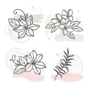 Abstracte lijnbloemen bloemenschets met hortensia jasmijn sakura bloemen en tak