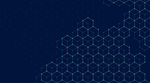 Abstracte lijnen en punten verbinden achtergrond met zeshoeken. zeshoeken verbinden digitale gegevens en big data-concept. hex digitale datavisualisatie. vector illustratie.