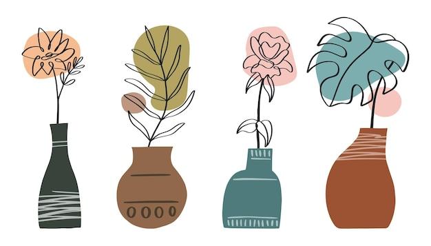 Abstracte lijnkunstcollectie met vazen en bloemenbladeren modern trendy design