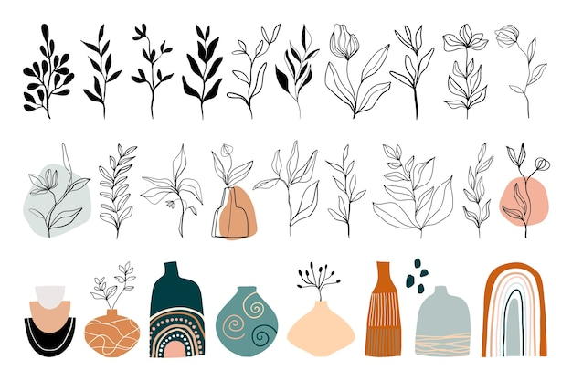 Abstracte lijntekeningencollectie met florale elementen