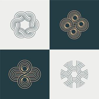 Abstracte lineaire logo collectie blauw en wit