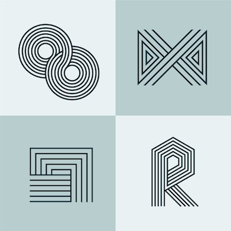 Abstracte lineaire logo collectie