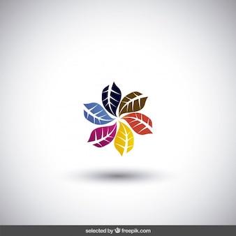 Abstracte logo gemaakt met kleurrijke bladeren
