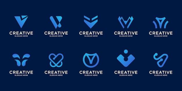 Abstracte logo illustratie afbeelding in moderne stijl. letter v-logo, goed voor internet, tech, merk, reclame.