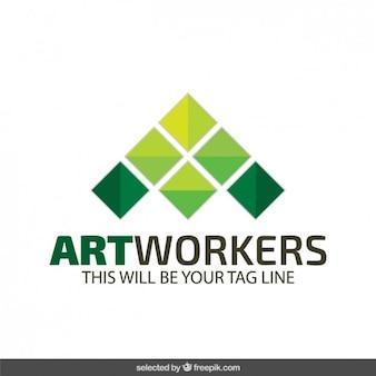 Abstracte logo in groene tinten