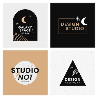 Abstracte logo ontwerp galaxy sjabloon set