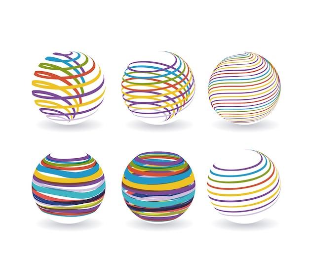 Abstracte logo wereldbol pictogrammenset met kleurrijke spiraal