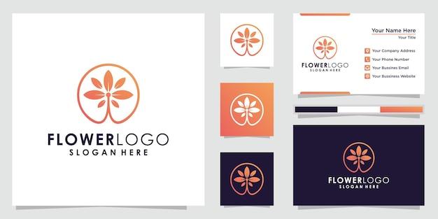 Abstracte logobloem met blad in een cirkel in lineaire stijl