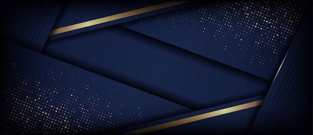 Abstracte luxe donkerblauw met gouden overlappende laag
