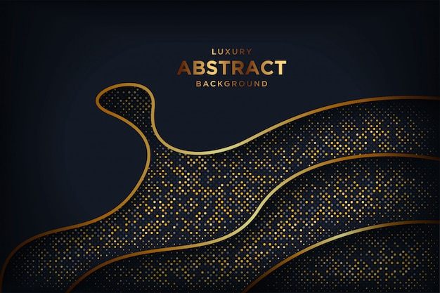 Abstracte luxe donkere achtergrond met een combinatie gloeiende gouden punten.