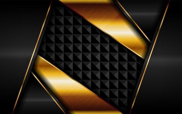 Abstracte luxe donkere achtergrond met gouden lijnencombinaties.
