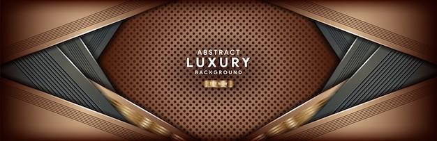 Abstracte luxe donkere bruine achtergrond met gouden lijn
