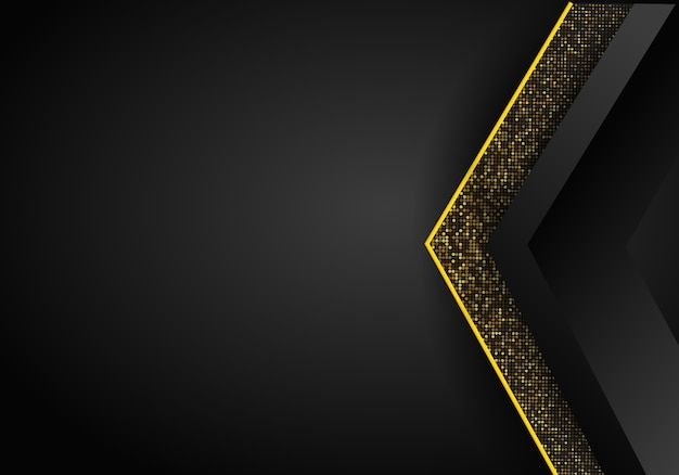 Abstracte luxe donkere overlapping dimensie achtergrond op metalen patroon. gouden glitters halftoon. moderne vector ontwerpsjabloon.