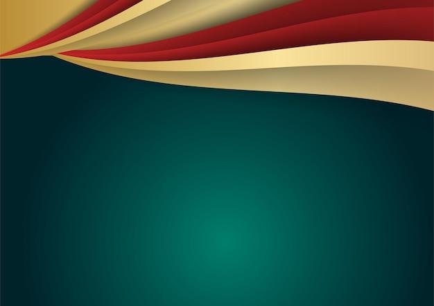 Abstracte luxe donkergroene overlaplaag met gouden en rode vormen decoratie-elementen. geschikt voor presentatieachtergrond, banner, webbestemmingspagina, ui, mobiele app, redactioneel ontwerp, flyer, banner