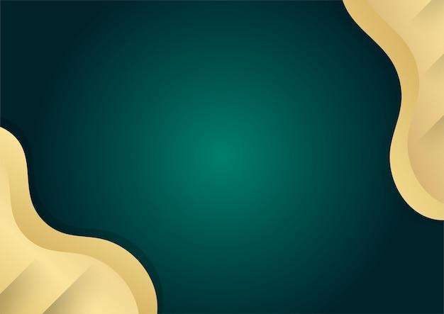 Abstracte luxe donkergroene overlaplaag met gouden vormen decoratie-elementen. geschikt voor presentatieachtergrond, banner, webbestemmingspagina, ui, mobiele app, redactioneel ontwerp, flyer, banner