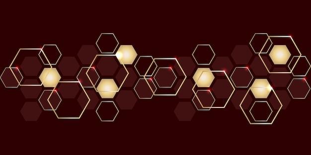 Abstracte luxe gouden en rode zeshoeken achtergrond. moderne hi-tech achtergrond voor digitale technologie.