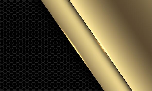 Abstracte luxe gouden overlap op donkergrijze zeshoek mesh patroon ontwerp moderne futuristische achtergrond