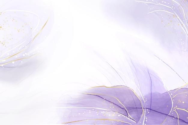 Abstracte luxe lavendel vloeibare aquarel achtergrond met gouden scheuren