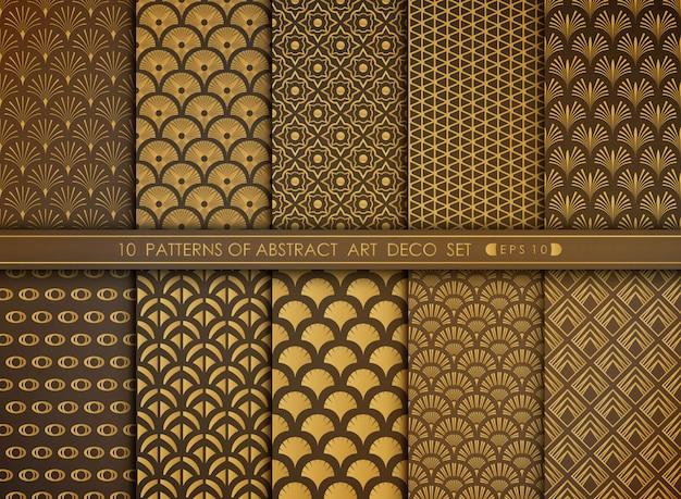 Abstracte luxe stijl antiek van goud art deco patroon set.