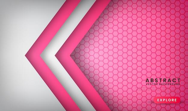 Abstracte luxe witte en roze achtergrond met zeshoek patronen