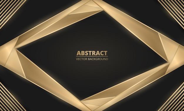 Abstracte luxe zwarte en gouden lijnen en vormenachtergrond