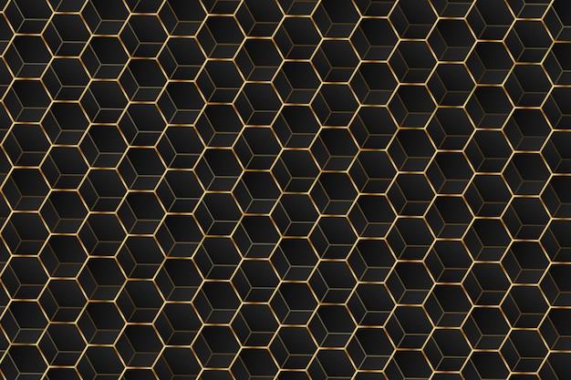 Abstracte luxe zwarte en gouden zeshoeken achtergrond