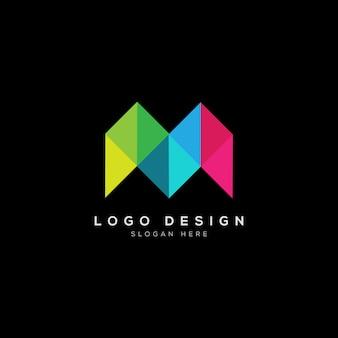 Abstracte m brief logo