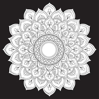 Abstracte mandala arabesque op zwart voor kleurboek
