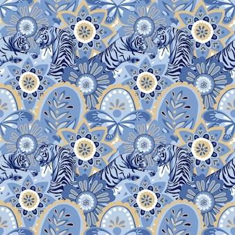 Abstracte marineblauwe bloemen en bladeren blauwe tijgers vector naadloos patroon