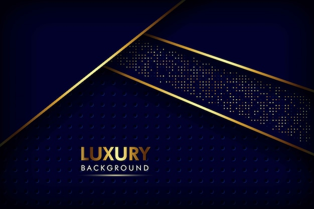 Abstracte marineblauwe overlappende lagen gouden lijn met cirkel mesh patroon en gouden glitters stippen luxe achtergrond