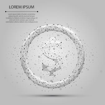 Abstracte mash lijn en punt dollarteken. zakelijke illustratie. polygonal low poly currency