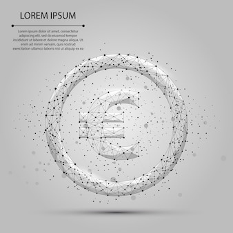 Abstracte mash lijn en punt eurosymbool. zakelijke illustratie. polygonal low poly currency