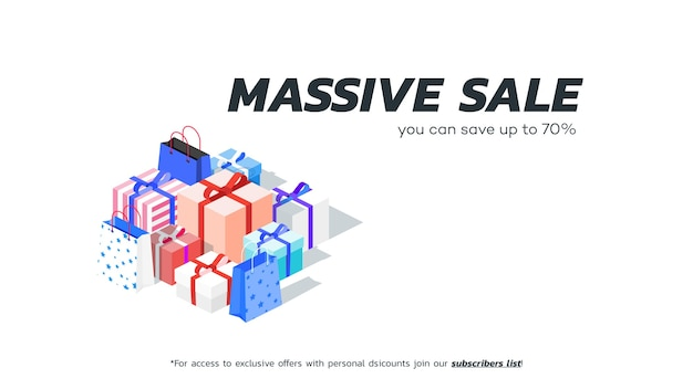 Abstracte massale verkoopbanner. isometrische geschenkdozen.