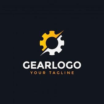 Abstracte mechanische versnelling logo ontwerpsjabloon