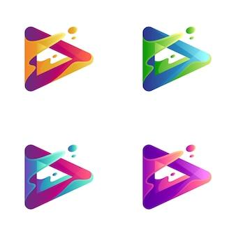 Abstracte media spelen logo-variatie
