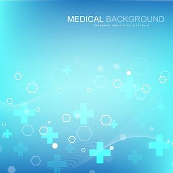 Abstracte medische achtergrond dna-onderzoek, molecuul, genetica, genoom, dna-keten. genetische analyse kunstconcept met zeshoeken, lijnen, stippen. biotechnologie netwerk concept molecuul, vectorillustratie
