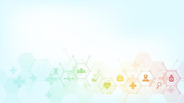 Abstracte medische achtergrond met pictogrammen en symbolen. sjabloon met concept en idee voor gezondheidszorgtechnologie, innovatiegeneeskunde, gezondheid, wetenschap en onderzoek.