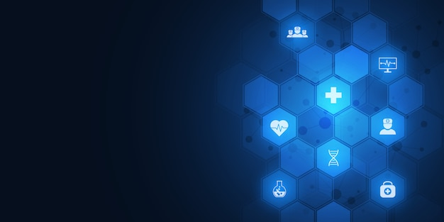 Abstracte medische achtergrond met plat pictogrammen en symbolen. concepten en ideeën voor zorgtechnologie, innovatiegeneeskunde, gezondheid, wetenschap en onderzoek.